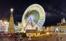 Grande roue à Lille à Noël Stock Photo