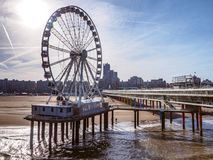 Grande roue au pilier de Scheveningen, Pays-Bas Photo stock