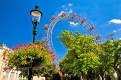 Grande roue de gianf de Prater Riesenrad dans la vue de Vienne photos stock