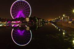 Grande roue de Montréal la nuit Canada photo stock