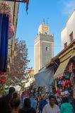 Grande Rue and Jama El Hamra mosque minaret. Fez El Jdid, Morocco. Stock Image