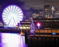 Grande ruota di Seattle sul pilastro 57 Fotografia Stock