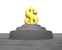Grande símbolo dourado do dinheiro no pódio concreto Imagens de Stock Royalty Free