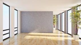 grande sala de visitas brilhante moderna luxuosa 3D do apartamento dos interiores com referência a ilustração stock