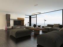 Grande sala de visitas espaçoso com janelas da vista ilustração royalty free