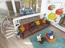 Grande sala de visitas luxuosa ao estilo do kitsch Imagem de Stock Royalty Free
