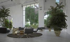 Grande sala di attesa o atrio spaziosa Immagini Stock Libere da Diritti