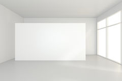 Grande sala vazia com quadros de avisos eretos rendição 3d Imagens de Stock