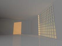 Grande sala vazia com rendição das janelas 3D Imagem de Stock Royalty Free