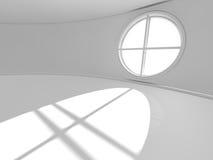 Grande sala vazia com rendição das janelas 3D Fotografia de Stock