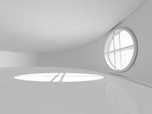 Grande sala vazia com rendição das janelas 3D Imagens de Stock