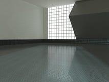 Grande sala vazia com rendição das janelas 3D Fotos de Stock Royalty Free