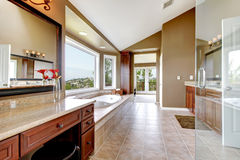 Grande salle de bains principale neuve de luxe moderne dans le brun. Photographie stock