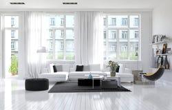 Grande salone bianco moderno spazioso illustrazione di stock