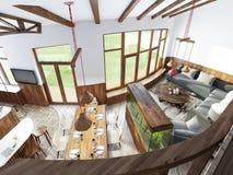 Grande salone con le grandi finestre, uno stile superiore del sottotetto Immagini Stock Libere da Diritti