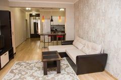 Grande salone spazioso fatto in uno stile minimalista Fotografie Stock Libere da Diritti