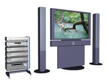 Grande schermo domestico 4. di televisional del plasma. Fotografie Stock