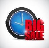 Grande segno di affari dell'orologio di vendita Fotografie Stock Libere da Diritti