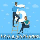 Grande sei numeri Il bianco numera l'illustrazione con i giovani Immagini Stock Libere da Diritti