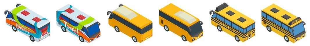 Grande seleção do turista da escola e do ônibus da cidade Imagem de Stock Royalty Free