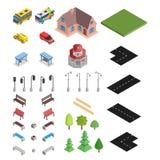 Grande selezione isometrica della strada e casa ed automobili illustrazione vettoriale