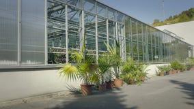 Grande serra con le pareti di vetro, fondamenti, tetto di timpano, letto del giardino stock footage