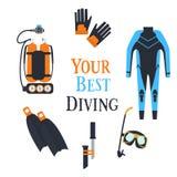 Grande set di strumenti per immersione con bombole e spearfishing Vettore Immagini Stock Libere da Diritti