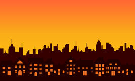 Grande silhouette d'horizon de ville Photo libre de droits