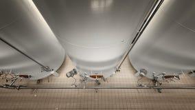 Grande silos bianco industriale in fabbrica moderna Fotografia Stock