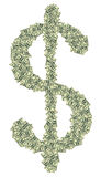 Grande simbolo di dollaro fatto dei dollari come simbolo del profitto Immagini Stock Libere da Diritti