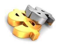 Grande simbolo di valuta dorato del dollaro su fondo bianco Immagini Stock