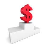 Grande simbolo di valuta rosso del dollaro sul podio del vincitore Fotografia Stock Libera da Diritti