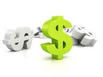 Grande simbolo di valuta verde del dollaro fuori dai bianchi Immagine Stock Libera da Diritti