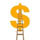 Grande simbolo dorato e scala del dollaro Illustrazione Immagine Stock