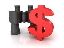 Grande simbolo rosso del dollaro con il binocolo su bianco Fotografie Stock Libere da Diritti