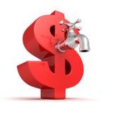 Grande simbolo rosso del dollaro con il rubinetto di acqua metallico Immagine Stock Libera da Diritti