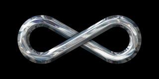Grande sinal da infinidade de Chrome no preto Fotografia de Stock