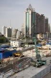 Grande sito della costruzione di edifici, Shanghai Fotografia Stock Libera da Diritti