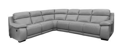 Grande sofá cinzento isolado Fotografia de Stock