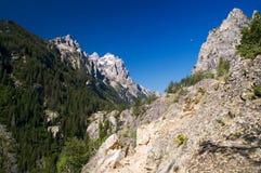 Grande sosta di Teton e la luna di mattina fotografia stock libera da diritti