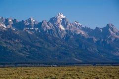 Grande sosta di Teton e un aeroplano Fotografie Stock