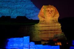 Grande Sphinx em Noite, Egipto imagem de stock