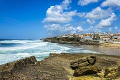 Grande spiaggia nel Portogallo Fotografie Stock Libere da Diritti