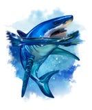 Grande squalo bianco Pittura dell'acquerello immagini stock
