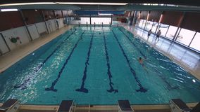 Grande stagno dell'interno La gente è libera di nuotare nello stagno stock footage