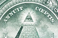 Grande stampa di U.S.A. Grande piramide con un occhio dell'architetto Fotografia Stock