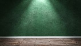 Grande stanza moderna con la parete verde del gesso e la luce direzionale Fotografie Stock Libere da Diritti