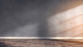 Grande stanza moderna con wal concreto grigio Immagine Stock