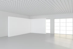 Grande stanza vuota con i tabelloni per le affissioni diritti rappresentazione 3d Immagine Stock