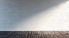 Grande stanza vuota con il muro di mattoni bianco Fotografia Stock Libera da Diritti